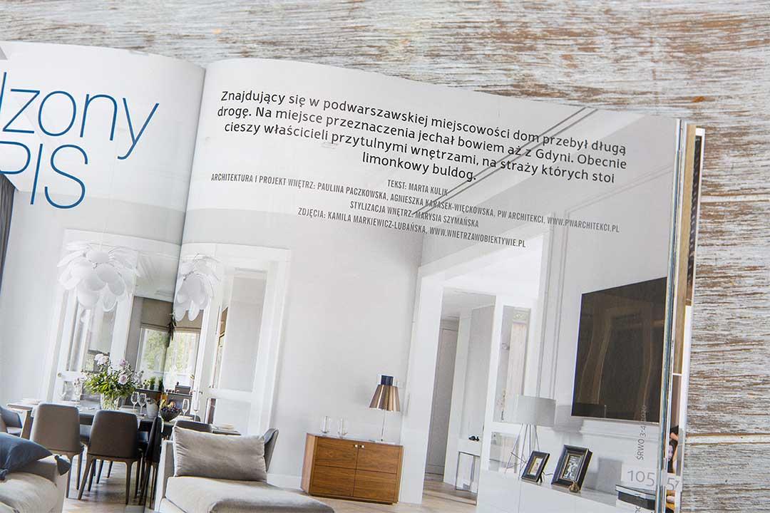 Wnętrza w obiektywie - Dom pod Warszawą Publikacja Świat Rezydencji, Wnętrz i Ogrodów nr 3-4, 2020